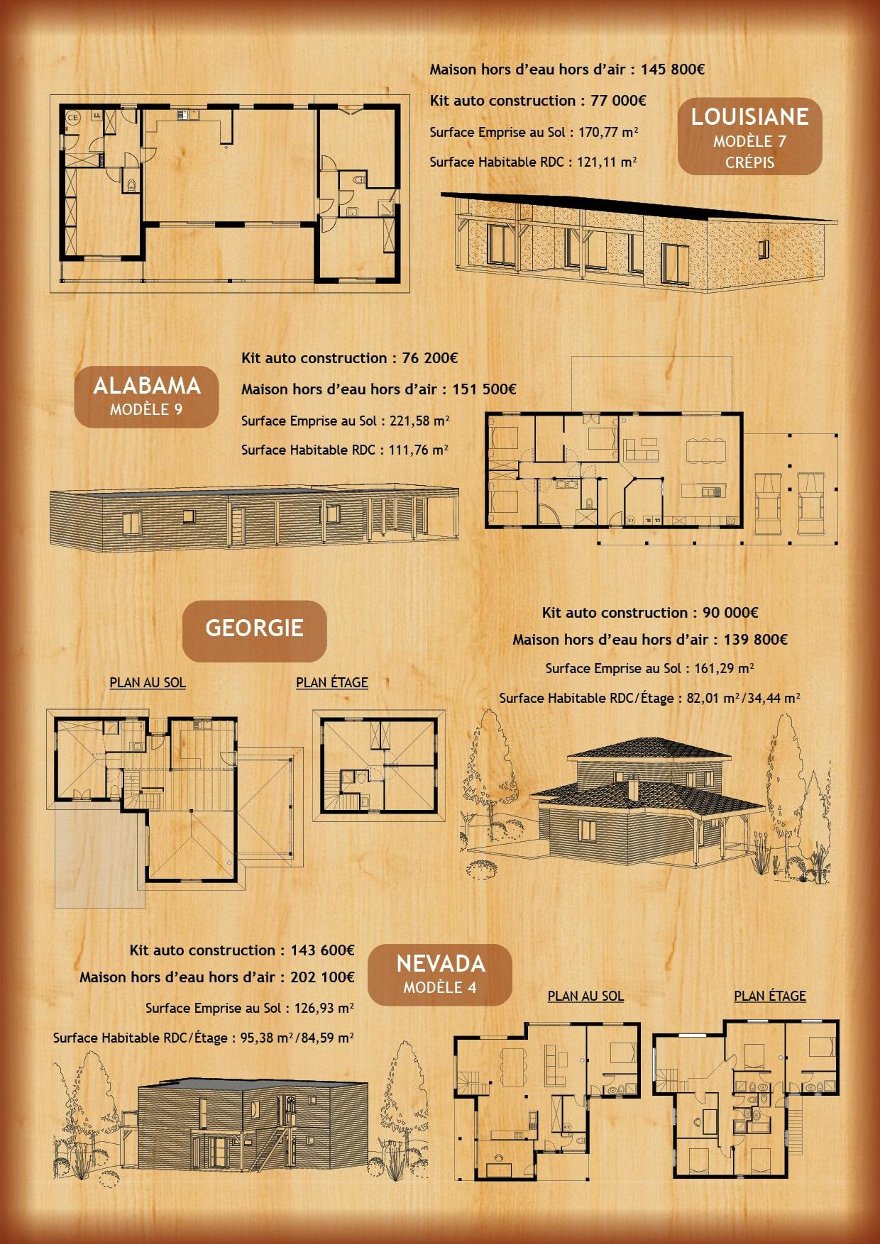 Prix et plans différents modèles Construction Maisons Bois