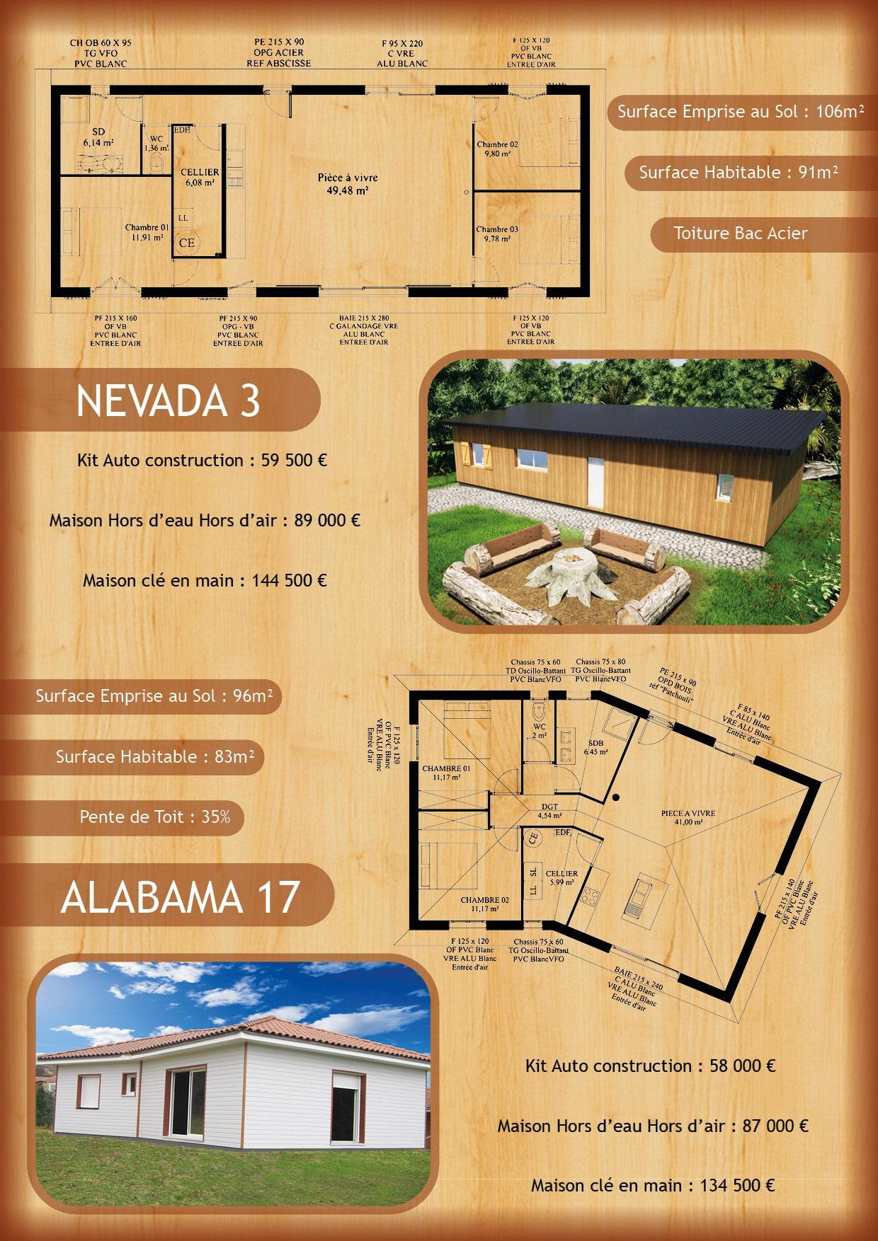 Tarif modèle Alabama 17 et Nevada 20